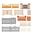 set of fences - modern realistic isolated vector image