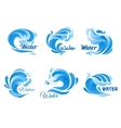 Blue water wave icon set for marine nature design vector image vector image