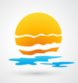 sunset and sea waves icon vector image vector image