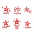 Set of graphic silhouette starfish logo templates vector image