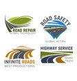 road lane or highway icons set vector image