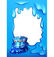 Blue border design with two bestfriends vector image vector image