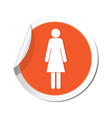 woman icon orange sticker vector image