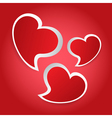 valentines card - three red hearts vector image