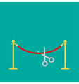 Scissors cutting red rope golden barrier stanchion vector image
