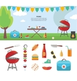 Banner and Icons of Picnic Items Holiday Concept vector image