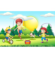 Kids jumping rope in the park vector image vector image