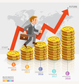 Businessman running on gold coins money stack vector image