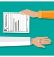 hand holds prescription rx form and pills vector image