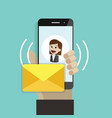 incoming message or email human hand holding vector image