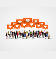 large group of people with like signs social vector image