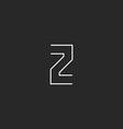 Letter Z logo design element mockup thin line vector image