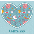 Lovely colorful invitation postcard with big heart vector image