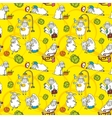 pattern with cartoon sheep vector image