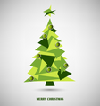 Christmas card with green triangle abstract tree vector image