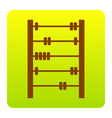 retro abacus sign  brown icon at green vector image