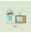 people and TV vector image