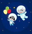 cute animal astronaut spaceman characters hippo vector image