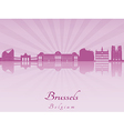 Brussels skyline in purple radiant orchid vector image
