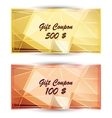 Set gold gift coupon gift card vector image