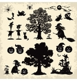 Halloween objects and subjects set silhouette vector image vector image