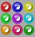 Yin Yang icon sign symbol on nine round colourful vector image