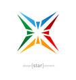 Abstract rainbow star logo design element on white vector image