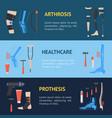 cartoon orthopedic banner horizontal set vector image