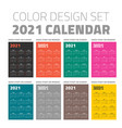 color pocket calendar set 2021 vector image
