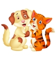 Cute cat and dog cartoon vector image
