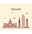 Denver skyline trendy linear vector image