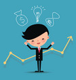 Happy business man characters with graph line vector image
