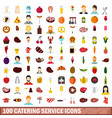 100 catering service icons set flat style vector image