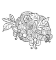 Hand drawn monochrome doodle flowers leafs and vector image