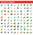 100 city icons set isometric 3d style vector image