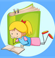 girl reading book with green book in background vector image vector image