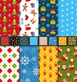 Set Christmas Seamless Patterns vector image vector image