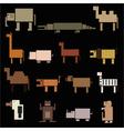 color square digital simple retro animals eps10 vector image