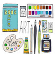 art supplies for drawing cartoon set with paints vector image