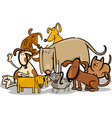 Cartoon Group of Funny Dogs vector image