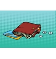 Leather wallet with credit card and cash vector image