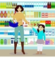 Mother and daughter in grocer vector image