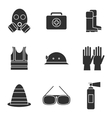 Safety equipment icon set vector image