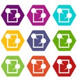 tablet chatting icon set color hexahedron vector image