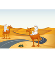 arabians riding on a camel vector image vector image