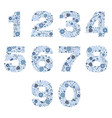 number floral blue porcelain decorative elements vector image