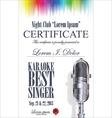Certificate best karaoke singer vector image