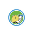 Delivery Worker Carrying Package Cartoon vector image