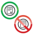 Decline document permission signs vector image