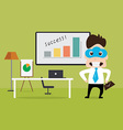Business man standing nearby working table vector image